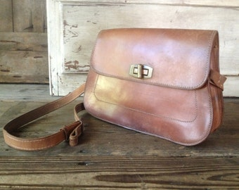 French Leather Handbag, Cigar Brown, Brass Buckle, 1940s 50s Crossbody