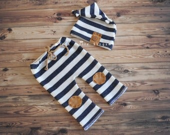 Newborn set Boy pants and knot hat stripes, Newborn boy prop, off White navy blue stripes brown knee patches, pants and hat nautical boy