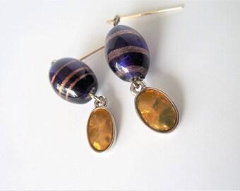 Deep Blue Earrings, Cobalt Earrings, Nautical Earrings, Navy Earrings, Gold Earrings, Mothers Day Gift,