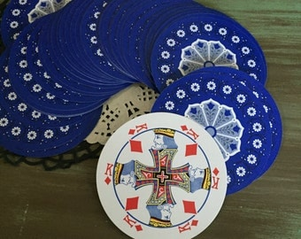 Round Cards Blue / Vintage Set Round Playing Cards for Altered arts, Mixed Media, Collage, Junk Journals, etc.