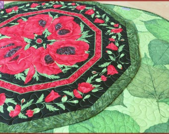 Quilted Table Topper Quilt Red Poppy Flora 579