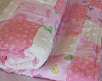 Pink patchwork baby blanket/ baby girl blanket/ minky and flannel pink blanket