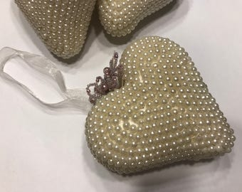 LARGE Vintage cream color beaded Heart Ornament Decor, 4 x 4 inches (HR32)