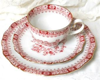 red tea cup trio tea cups red tea set german teacup gold Theresia shabby chic Seltmann Weiden tea cup 940