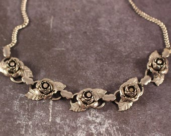Silver Tone Roses and Rhinestone Necklace - Vintage 1950s/60s