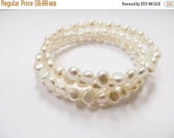 On Sale Retro White Fresh Water Pearl Spiral Wrap Bracelet Item K # 1342