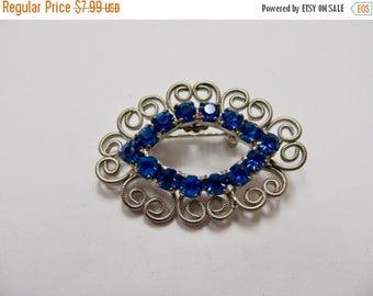 On Sale Vintage Prong Set Blue Rhinestone Pin Item K # 2434