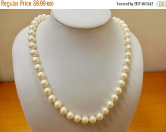 On Sale Vintage Faux Pearl Necklace with Floral Clasp Item K # 2819