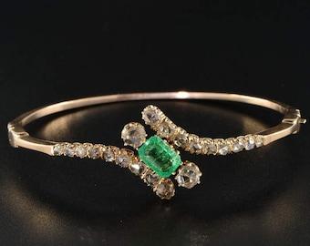 Glorious Victorian emerald and diamond rare bangle