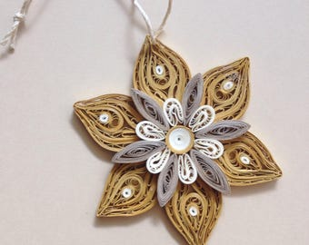 Christmas tree ornament Quilled gold ornament Christmas in July sale