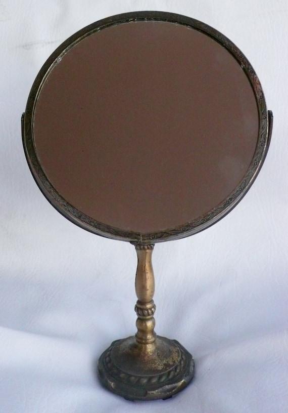 Vintage brass vanity mirror pedestal magnify round double for Antique vanity with round mirror