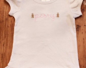 Personalized Hand-lettered Bunny Ruffle Shirt