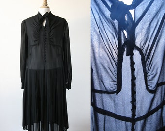 Vintage 1960's  Little Black Dress pleated, long sleeves