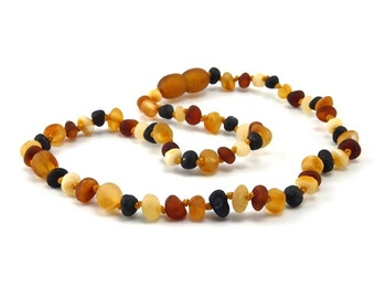 Baltic Amber Necklace Teething Baby Toddler Child Unpolished Rounded Honey Butter Cognac Cherry Beads