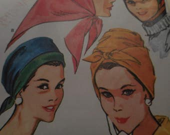 Vintage 1960's McCall's 8009 Hats Sewing Pattern All Sizes