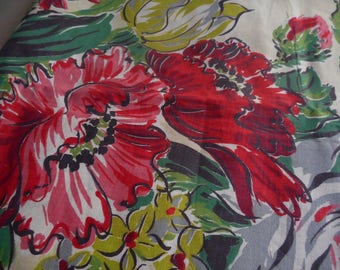 Vintage 1940's, 50's Large Scale Reds, Greens, Chartreuse Stylized Poppies Floral Barkcloth Era Cotton Fabric, 4 yards