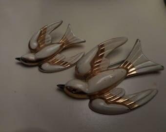 Vintage 1940's, 50's Cora Swallow Bird Goldtone Cream Enamel Brooch Set