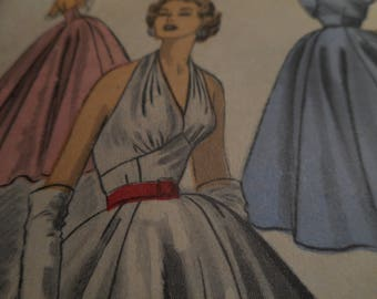 Vintage 1950's Advance 6092 Evening Dress and Bolero Sewing Pattern, Size 12 Bust 30
