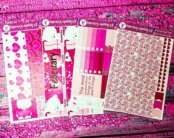 February monthly spread kit for the Erin Condren life planner