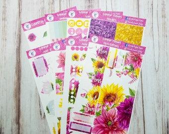 Summer flowers sticker kit for the Erin Condren vertical life planner layout