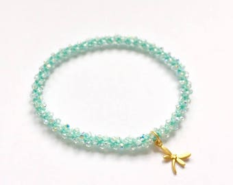 Mint and golden dragonfly charm, Swarovski crystal, beaded crochet, yoga charm braclet