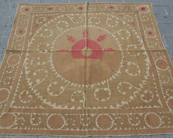 4.82' x 4.89' Suzani Vintage Suzani Old Embroidery Suzani Wall Hanging Uzbek Suzani Table Cover Ethnic Suzani FAST SHIPMENT with ups - 10968