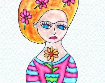 Painting / Art Print / Unique Gift / Parents Children Kids  / Nursery Baby Girl's Room / Frida Flower Girl Wedding Wall Art / Daisy
