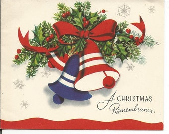 Vintage Group of 3 Christmas Bell Christmas Cards