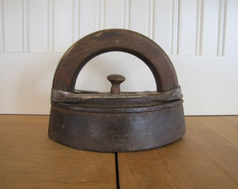 1800's Bless & Drake Cast Iron Clothes Iron, Clothes Iron, Iron, Newark NJ, Wood Handle, Bless and Draker, Farmhouse, Doorstop, Bookend