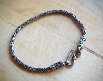 Vintage sterling silver bracelet, rope chain bracelet, artisan's jewelry, wedding jewelry