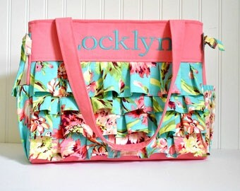 Pink Ruffle Diaper Bag in Amy Butler Bliss and Coral with Monogramming for Baby Girl Zipper Closure 9 Pockets
