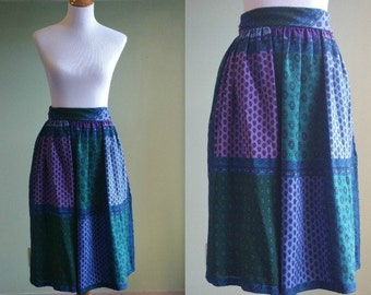 """Vintage French Country Skirt - Patchwork Skirt - Charles Demery - 1980s - Soleiado -27"""" Waist"""
