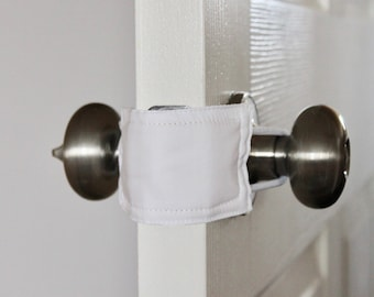 All White (3 PACK) handmade nursery gift, baby room decor, door knob stopper, cotton, padded, door cushion, door guard LATCHY CATCHY