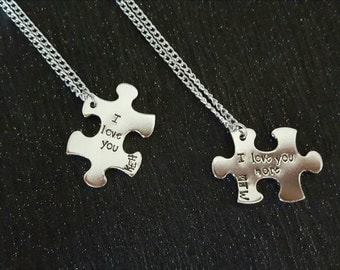 "Handstamped Puzzle piece necklace set. ""I love you"" "" i love you more"" personalised initials. Valentines gift - couples gift - anniversary"