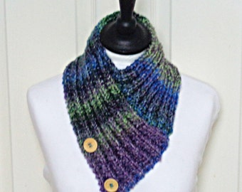 Knit bandana scarf, multicolour scarf, purple green scarf, button scarf, ladies neckwarmer, Winter accessories, Winter scarf, uk scarf