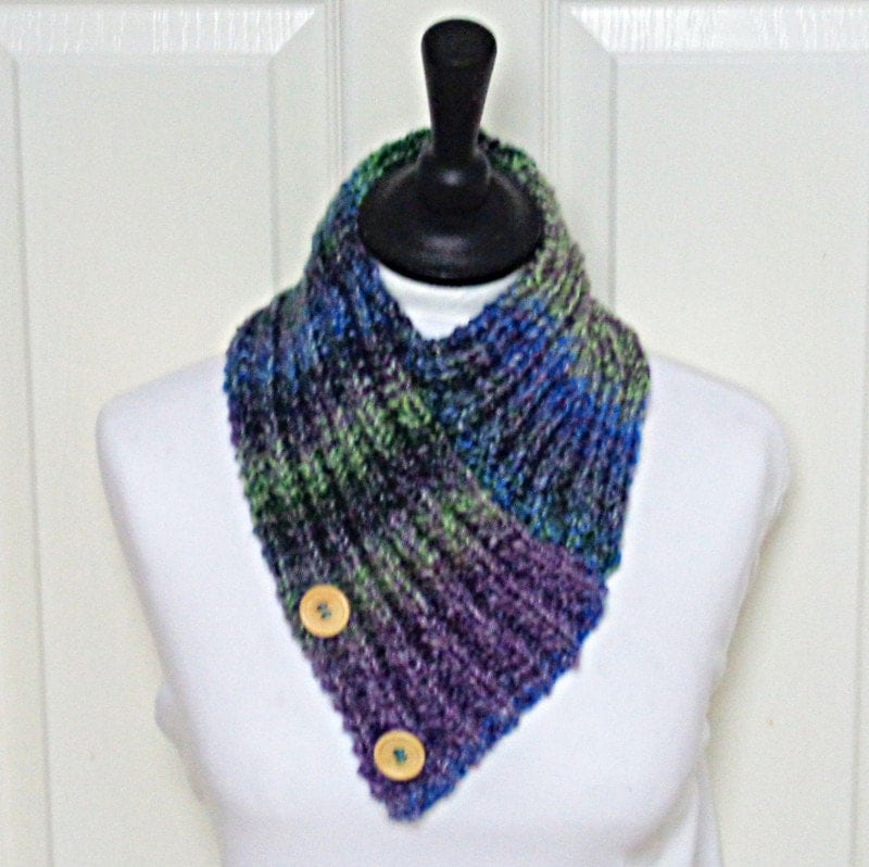 Free Knitting Patterns For Beginners Baby Blanket : Knit bandana scarf multicolour scarf purple green scarf