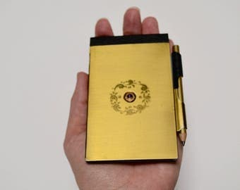 vintage gold notebook / notepad , Lions Club