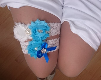 White and Blue Garter Set, Wedding Garters, Something Blue Garter, White garter, Bridal Garter, Wedding Garter Set, Blue Flower Garter Set