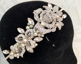 Bridal tiara -Bridal HeadPiece  , Wedding Tiara , Bridal headband , wedding hair accessories - headdress - Headpiece