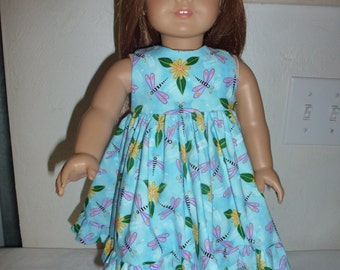 """18"""" Doll Dress With Dragon Flies and Flowers  Fits American Girl, Madame Alexander and Gotz and Our Generation Dolls"""