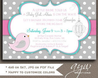 Baby Shower Invitation Girl Bird Baby Shower Invitations Printable Invites Baby Shower Invite Birds Grey Pink Turquoise Polka Dots