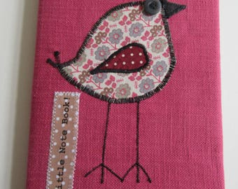 Raspberry Sorbet Pink Fabric Covered Notebook -CB12