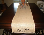 Burlap pillows and table runners