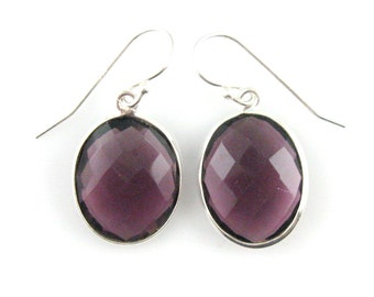 Bezel Gemstone Oval Pendant Earrings - Sterling Silver Bezel Gem and Hooks - Amethyst Quartz Earrings - Oval Gemstone Earrings - 640112-AMQ