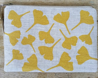 Ginkgo Leaves flat zip pouch - metallic gold on grey linen - screen printed and handmade