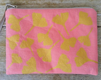 Ginkgo Leaves - metallic gold on blush pink - flat zip pouch - screen printed and handmade