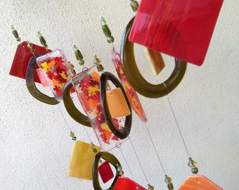 Wind Chime, Red and Orange Fused Glass Wind Chime, with Stained Glass and Recycled Bottles Chime