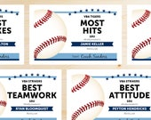 Editable Baseball Award Certificates - INSTANT DOWNLOAD PRINTABLE - Light Sky Carolina Blue and Navy