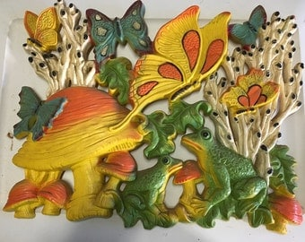 Vintage 1970s wall art- Mushrooms, Frogs, Butterflies