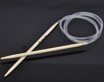 1PC Bamboo 100cm Circular Knitting Needle(US Size 8/5mm)-6867a